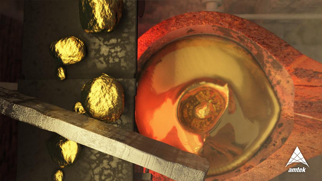 RealFlow Liquid Gold Animation - Still Frame